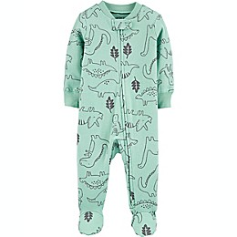carter's® Dinosaur 2-Way Zip Stretch Sleep & Play Footie in Green