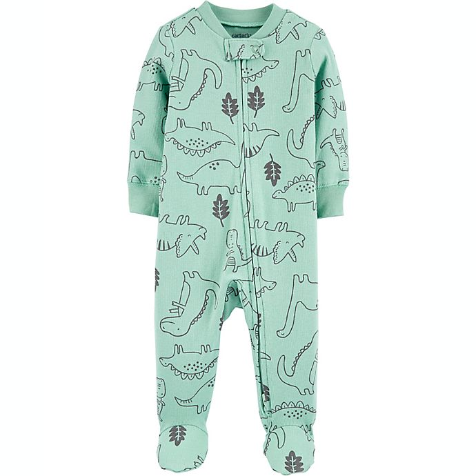 Alternate image 1 for carter's® Newborn Dinosaur 2-Way Zip Stretch Sleep & Play Footie in Green