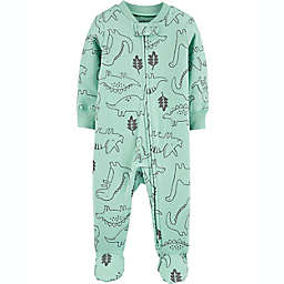carter's® Size 6M Dinosaur 2-Way Zip Stretch Sleep & Play Footie in Green