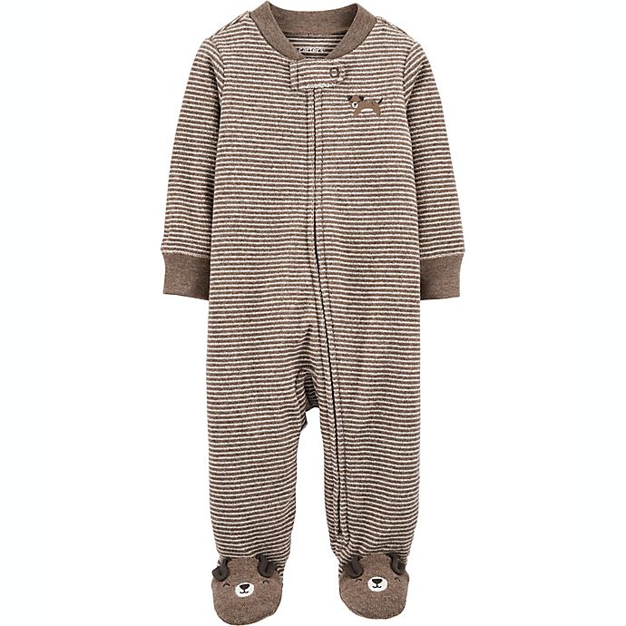 Alternate image 1 for carter's® Size 6M Dog 2-Way Zip Heathered Sleep & Play Footie in Brown