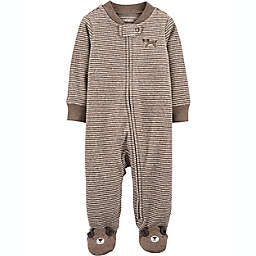 carter's® Size 3M Dog 2-Way Zip Heathered Sleep & Play Footie in Brown