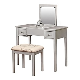 Linon Home Cayleigh Butterfly 2-Piece Vanity Set in Silver