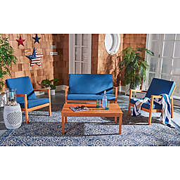 Safavieh Larence 4-Piece Patio Conversation Set in Natural/Navy