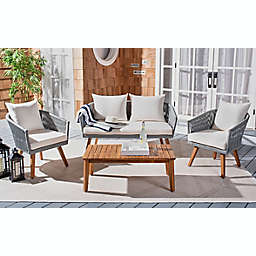 Safavieh Velso 4-Piece Patio Conversation Set with Cushions