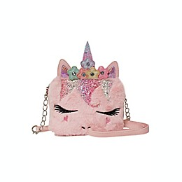 OMG Accessories Flower Crown Miss Gwen Unicorn Plush Crossbody Bag in Pink