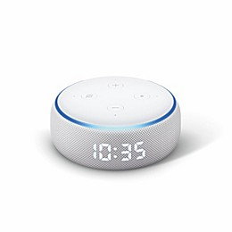 Amazon Echo Dot with Clock in White