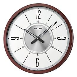 Seiko 20-Inch Modern Wall Clock in Brown/White