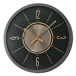 Seiko 20-Inch Davis Wall Clock in Black/Gold