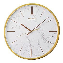 Seiko 16-Inch Carrara Wall Clock in White/Gold