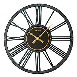 Seiko 24-Inch Farmhouse Wall Clock in Black/Gold