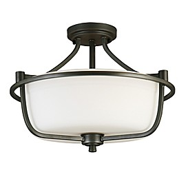 EGLO Mayview 3-Light Semi Flush Mount Ceiling Fixture with Glass Shade