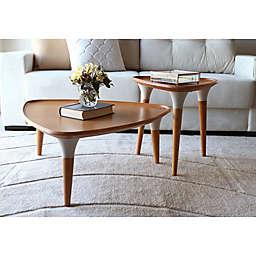 Manhattan Comfort© HomeDock Coffee Table in Cinnamon/Off-White