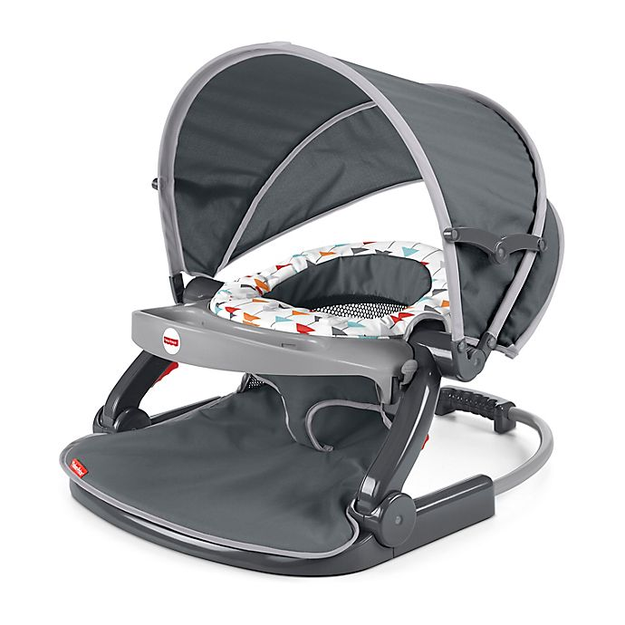 Alternate image 1 for Fisher-Price® Arrows Away On-the-Go Sit-Me-Up Floor Seat in Grey