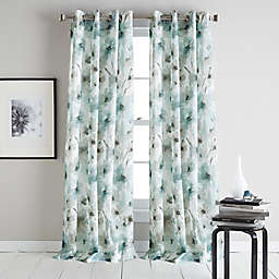DKNY Modern Bloom Grommet Sheer Window Curtain Panel