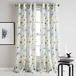 DKNY Modern Bloom 63-Inch Grommet Sheer Window Curtain Panel in Yellow