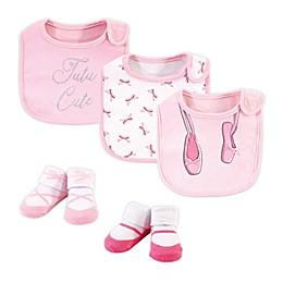 Little Treasure® One Size 5-Piece Ballerina Bib and Sock Set in Pink/White