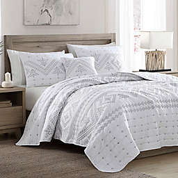 Brielle Cross-Stitched 4-Piece King Quilt Set in Silver