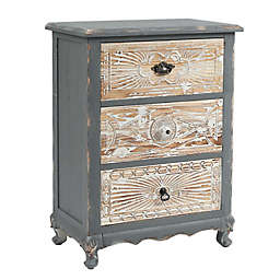 Luxen Home Shabby-Chic Carved 3-Drawer Chest in Weathered Wood