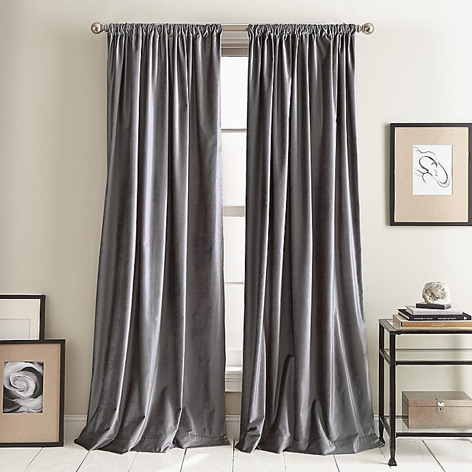 Alternate image 1 for DKNY Modern Knotted Velvet 2-Pack Rod Pocket Room Darkening Window Curtain Panels