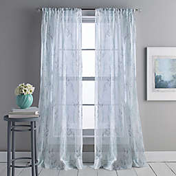 DKNY Whisper 84-Inch Rod Pocket/Back Tab Sheer Window Curtain Panel in Aqua