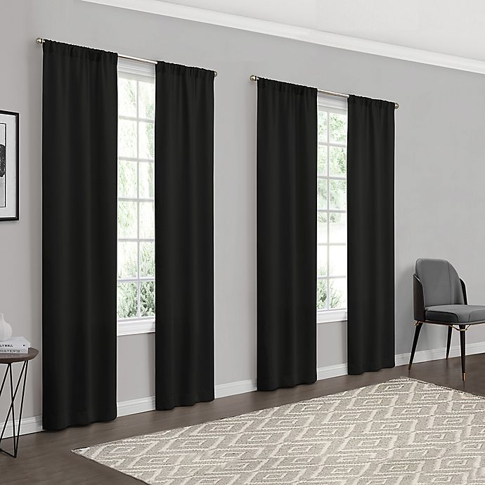 Alternate image 1 for Eclipse Forrester 4-Pack Rod Pocket Room Darkening Window Curtain Panels