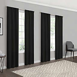 Eclipse Forrester 4-Pack 63-Inch Rod Pocket Room Darkening Window Curtain Panels in Black