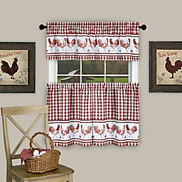 Barnyard 36-Inch Window Curtain Tier Pair and Valance in Burgundy