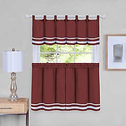 Dakota Striped 24-Inch Kitchen Window Curtain Tier Pair and Valance Set in Burgundy