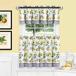 MyHome Lemon Drop Window Curtain Tier Pair and Valance in Yellow