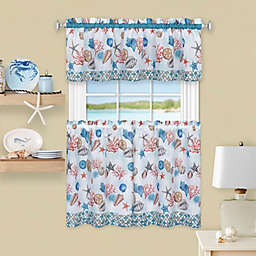 Coastal Kitchen Window Curtain Tier Pair and Valance Set in Blue