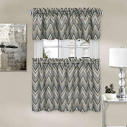 Avery Chevron Kitchen Window Curtain Tier Pair and Valance Set