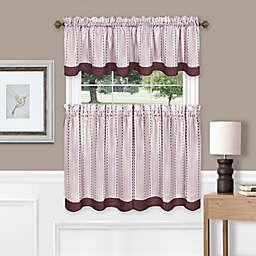 Westport 24-Inch Window Curtain Tier Pair & Valance in Burgundy