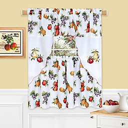 Ambrosia 3-Piece Rod Pocket Window Curtain Tiers and Swag Valance Set