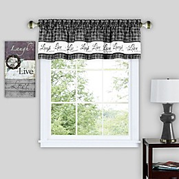 Live Love Laugh Window Valance in Charcoal
