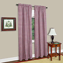 MyHome Buffalo Check 95-Inch Rod Pocket Light Filtering Window Curtain Panel in Burgundy