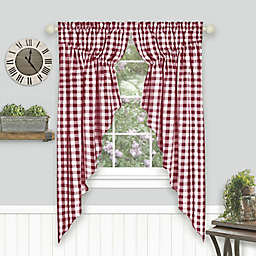 MyHome Buffalo Check 2-Pack 63-Inch Window Swag Valances