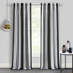 Spectrum Rod Pocket Light Filtering Window Curtain Panel in Black/Silver (Single)