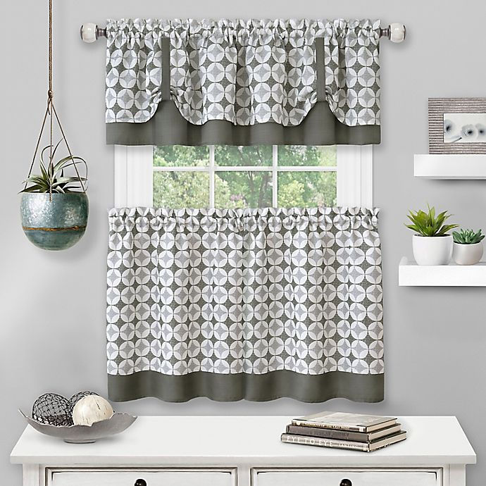 Alternate image 1 for MyHome Callie Kitchen Window Curtain Tier Pair and Valance