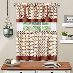 MyHome Callie 36-Inch Kitchen Window Curtain Tier Pair and Valance in Spice/Tan