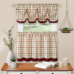 Tattersall Kitchen Window Curtain Tier Pair & Valance Set