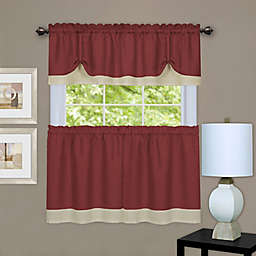MyHome Darcy 24-Inch Window Curtain Tier Pair and Valance in Marsala/Tan