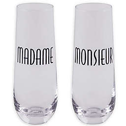 Home Essentials & Beyond Madame & Monsieur Stemless Champagne Glasses (Set of 2)
