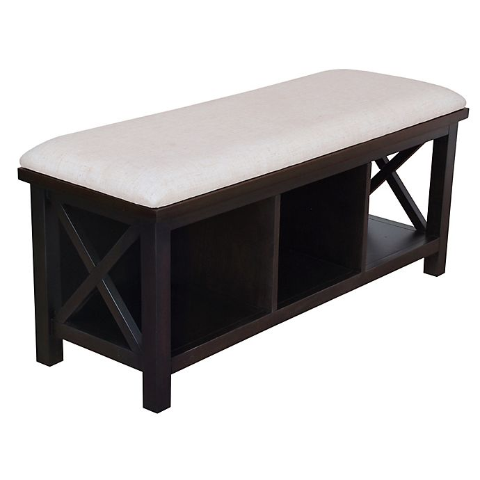 Bee Willow Home Crossey Entryway Bench With Cushion In Carbonized Wood Bed Bath Beyond