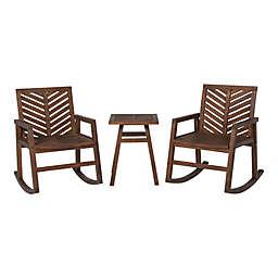 Forest Gate™ 3-Piece Patio Rocking Chair Set in Dark Brown