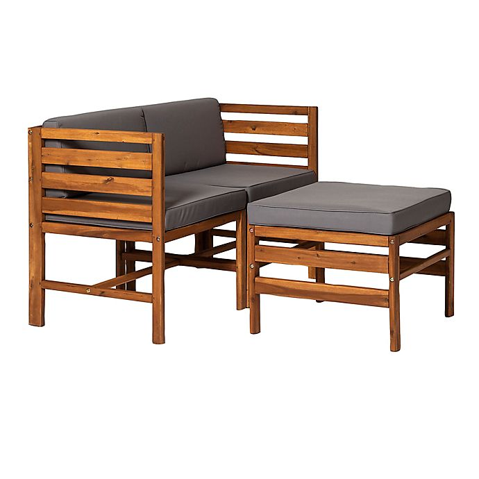 Alternate image 1 for Forest Gate™ 3-Piece Acacia Wood Patio Chair and Ottoman Set with Cushions