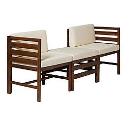 Forest Gate™ 3-Piece Acacia Wood Patio Chair and Ottoman Set in Dark Brown with Cream Cushions