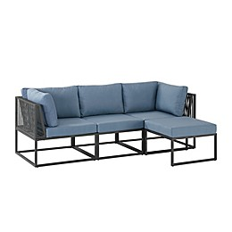 Forest Gate™ 4-Piece Modular Patio Sectional Set in Blue