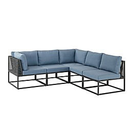 Forest Gate Modular 5-Piece Patio Sectional Set in Blue with Cushions