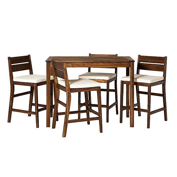 Alternate image 1 for Forest Gate 5-Piece Acacia Wood Patio Counter-Height Dining Set with Cushions