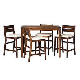 Forest Gate 5-Piece Acacia Wood Patio Counter-Height Dining Set with Cushions